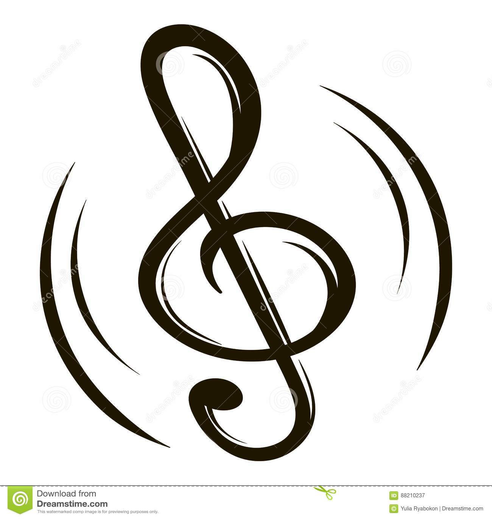 Music Key Icon Cartoon Stock Vector Illustration Of Line 88210237