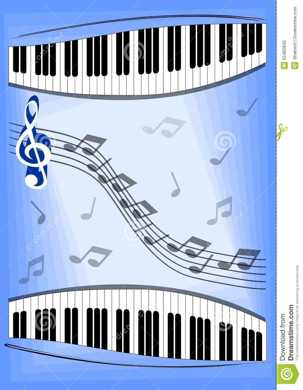 Music Leaflet With Notes Piano Keyboard And Treble Clef