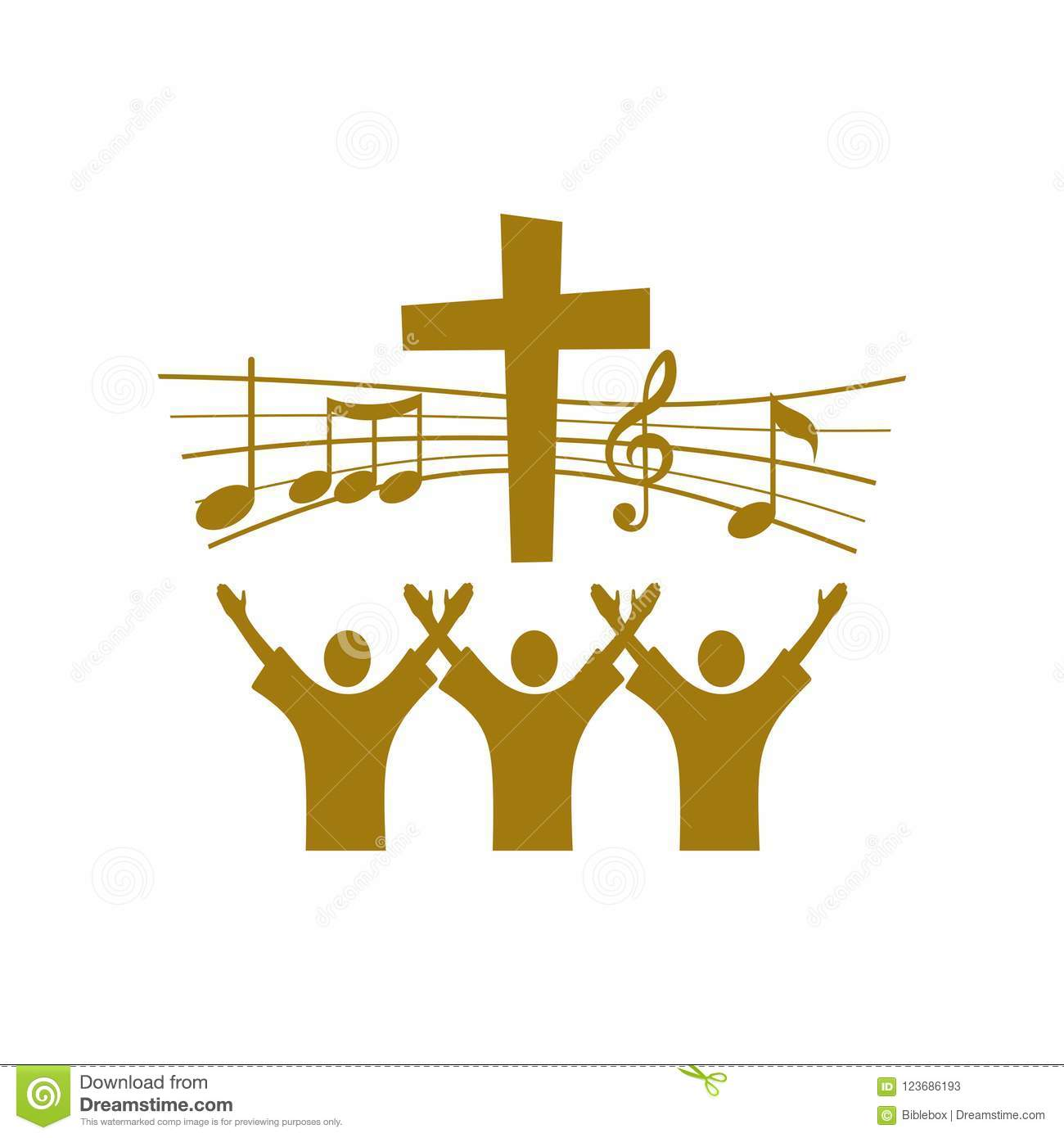 Music Logo Christian Symbols Believers In Jesus Sing A Song Of