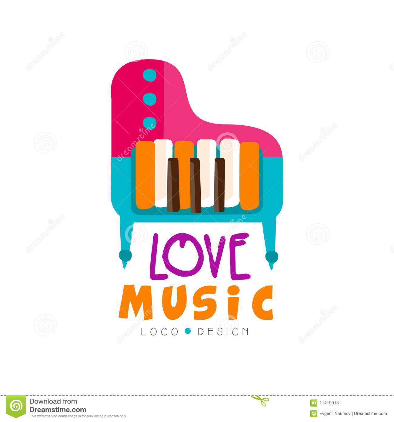 Music Logo With Colorful Grand Piano Large Keyboard Musical
