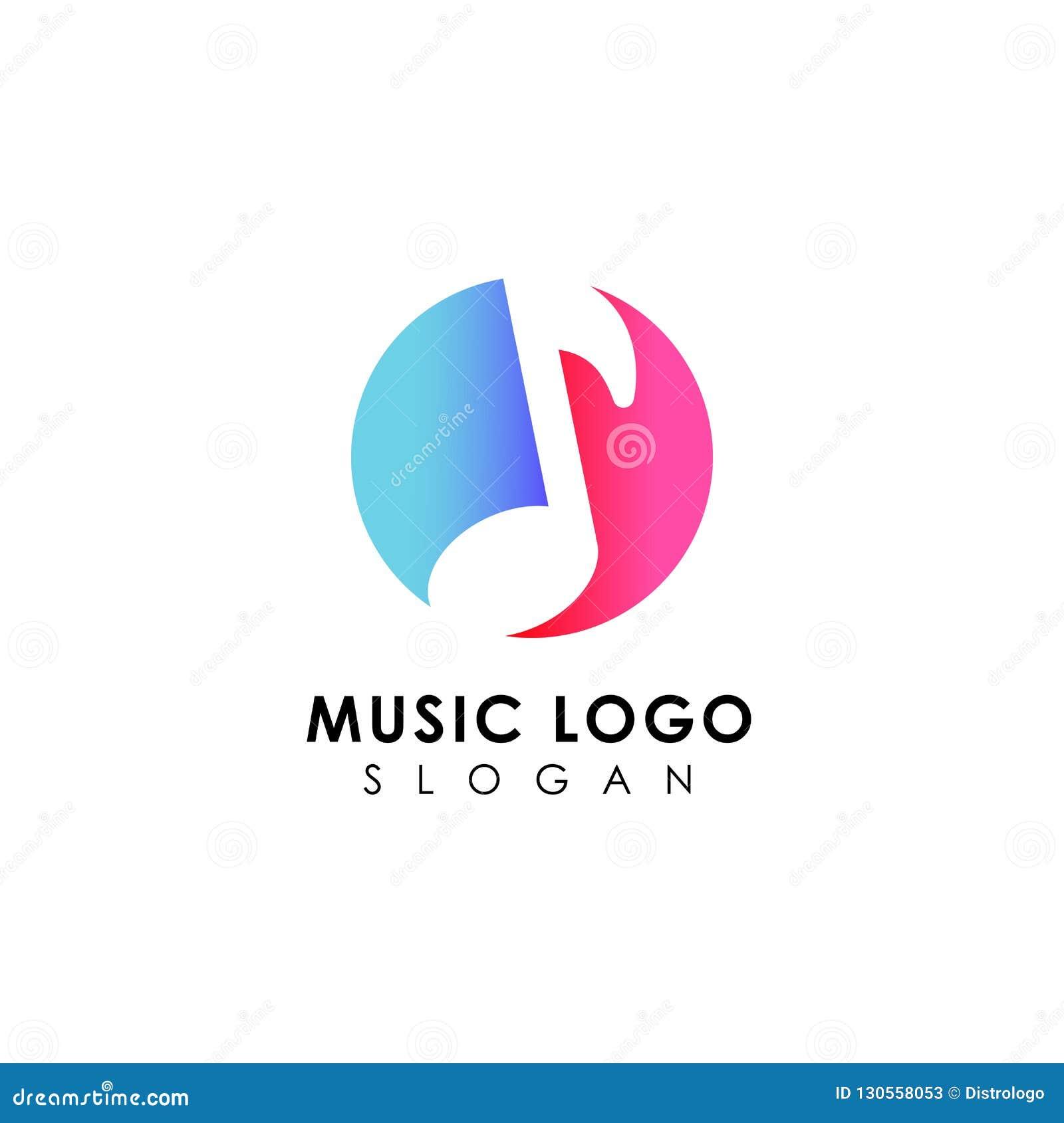 music logo design. flat music note symbol designs