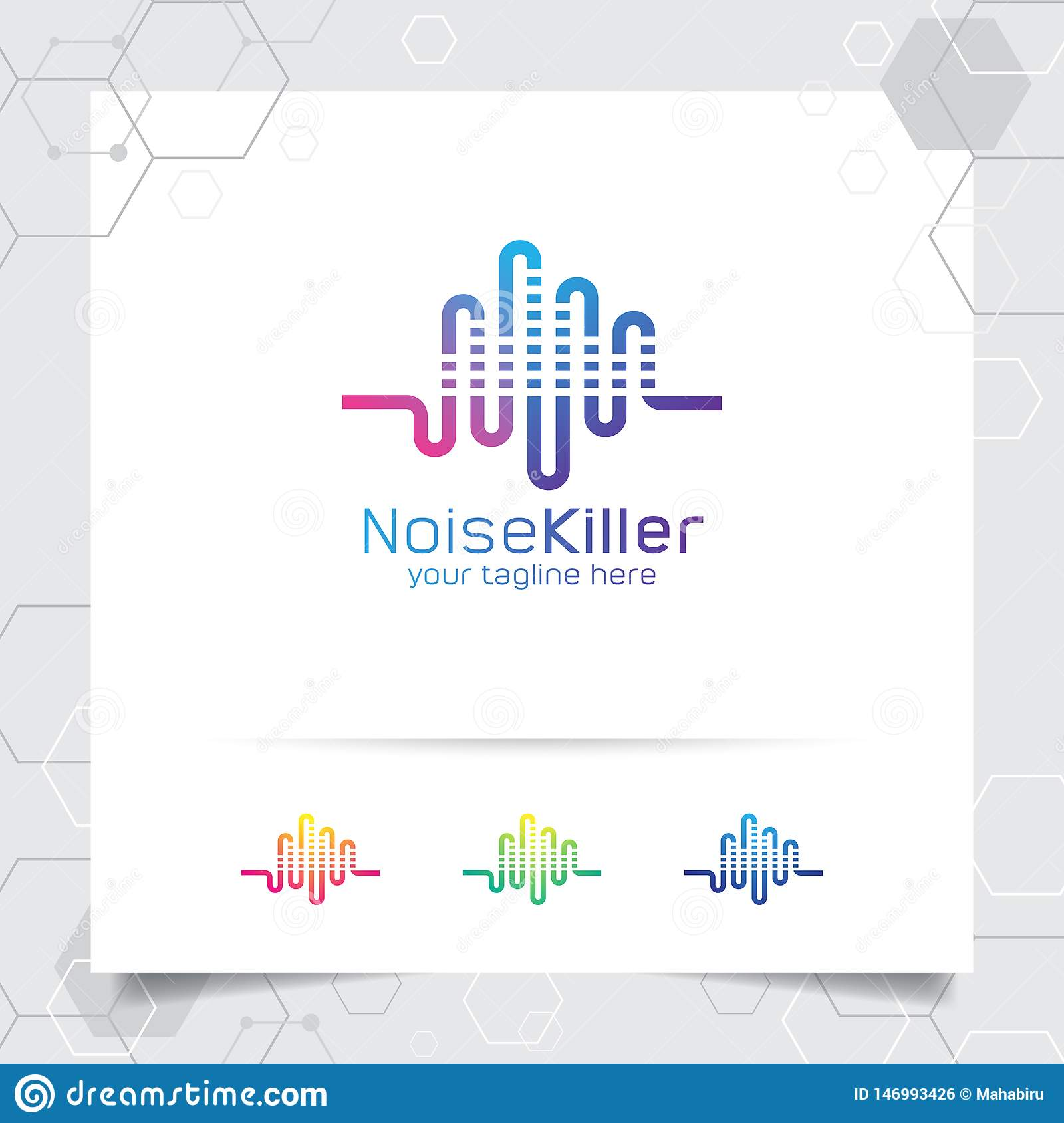 Music Logo Design Vector With Concept Of Sound Wave And