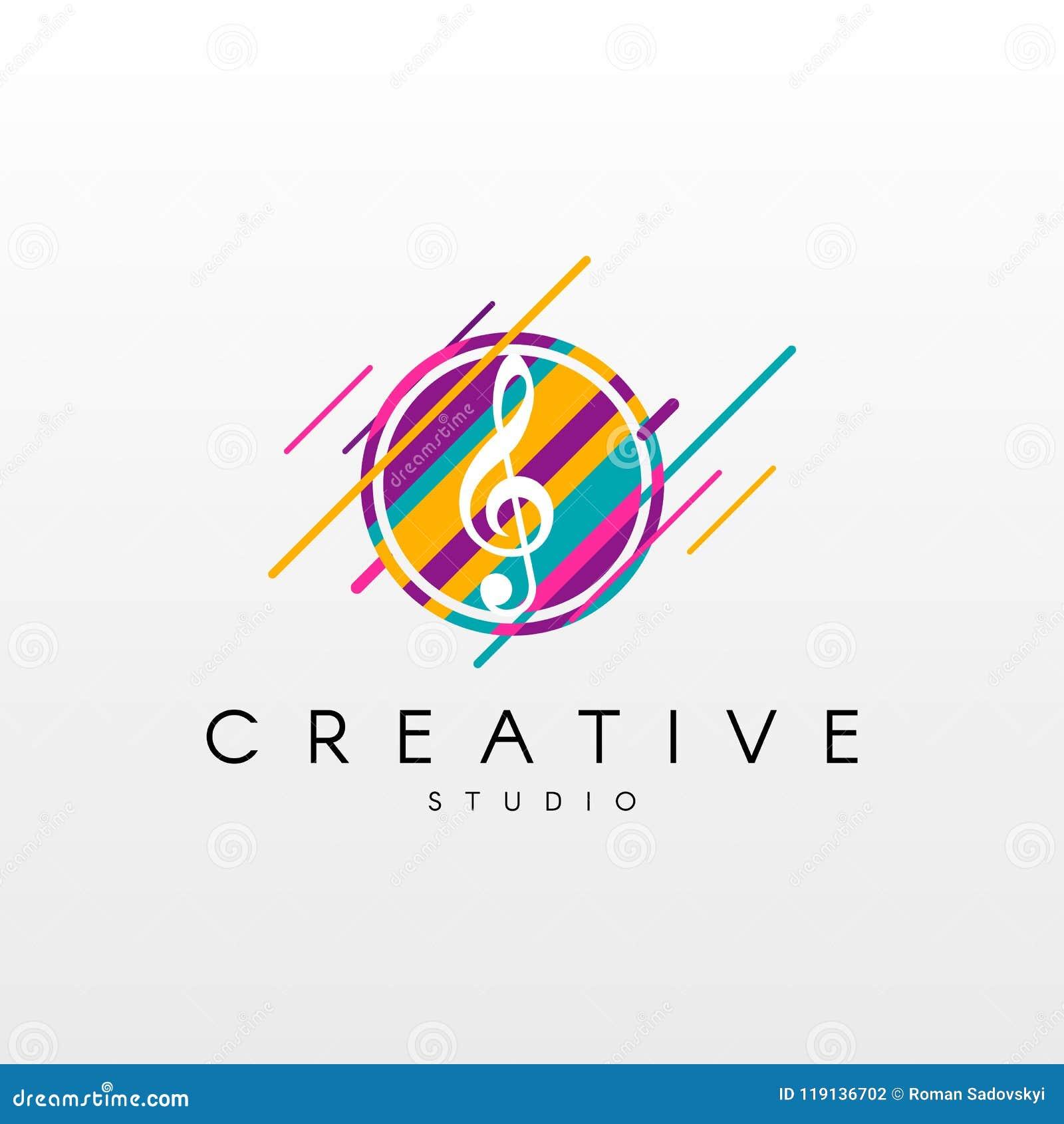 Music Logo  Logo Design, Made Of Various Geometric Shapes In