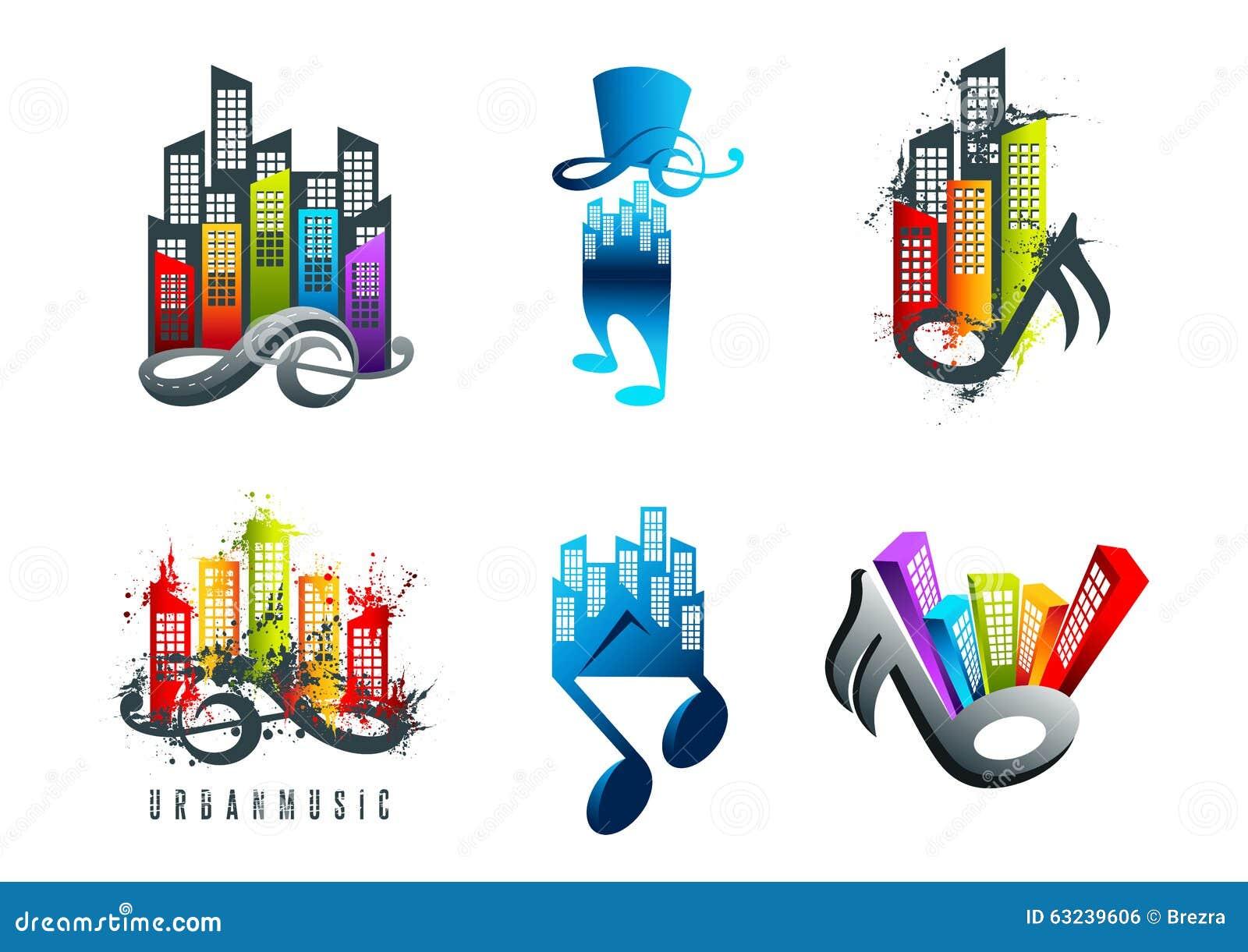 Music Logo Sound City Symbol And Grunge Country Treble Music Design