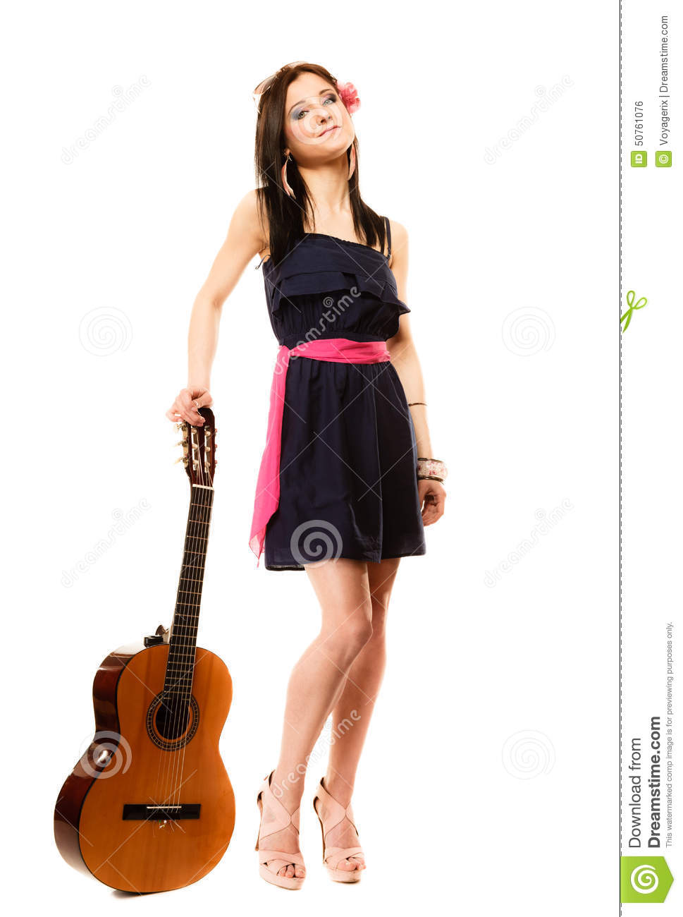 Music Lover, Summer Girl With Guitar Isolated Stock Photo
