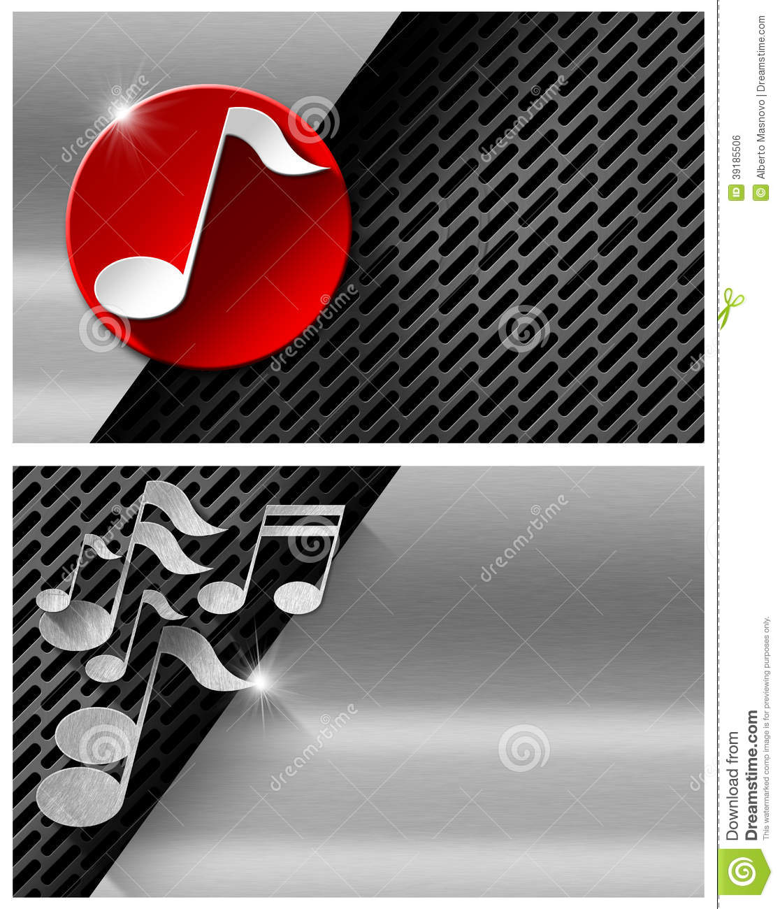 Music metal and red business card stock illustration for Music business card background