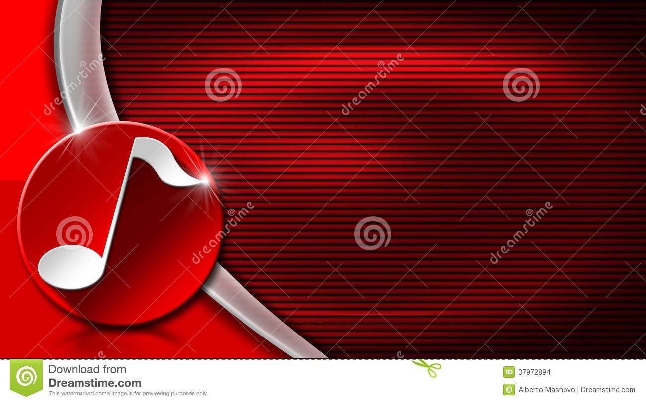 Red And Black Corrugated Background With White Musical Note Circle Curve