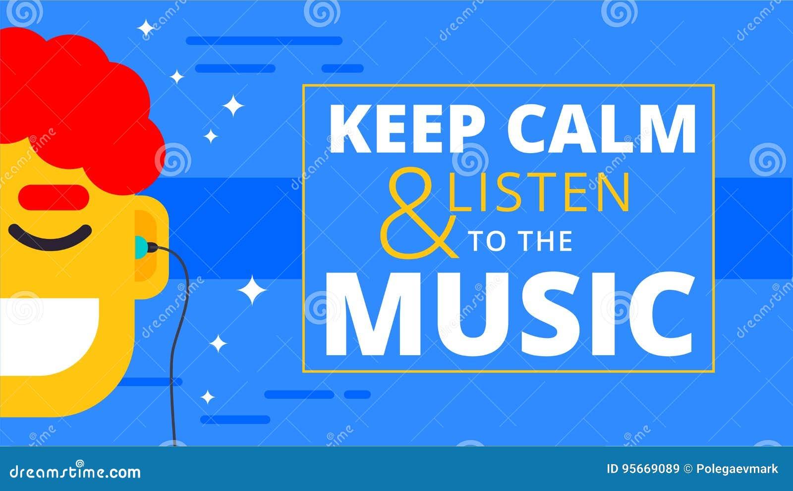 Music Motivational Wallpaper In Flat Design Happy Man Listening