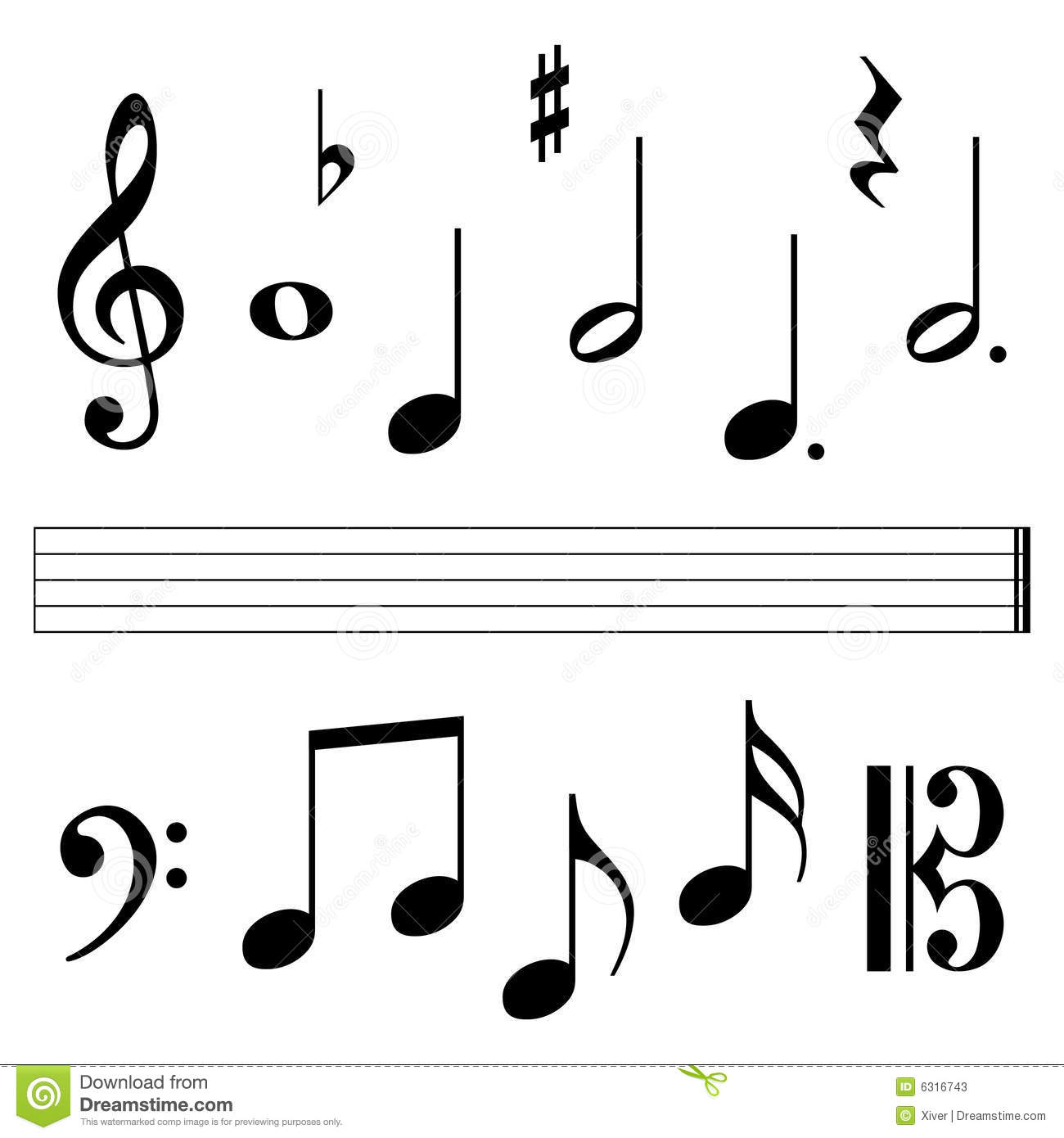 Music Notation Elements Stock Vector Illustration Of Sharp 6316743
