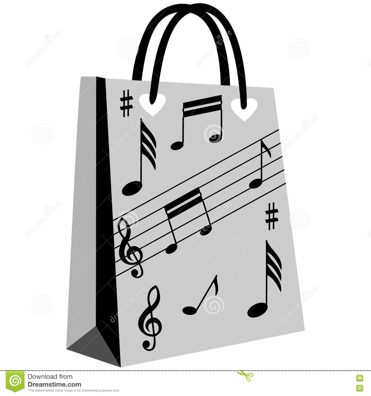 Music Notation Shopping Bag Stock Vector - Image: 73063832