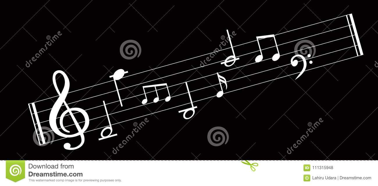 Music Note Background With Symbols Stock Vector Illustration Of