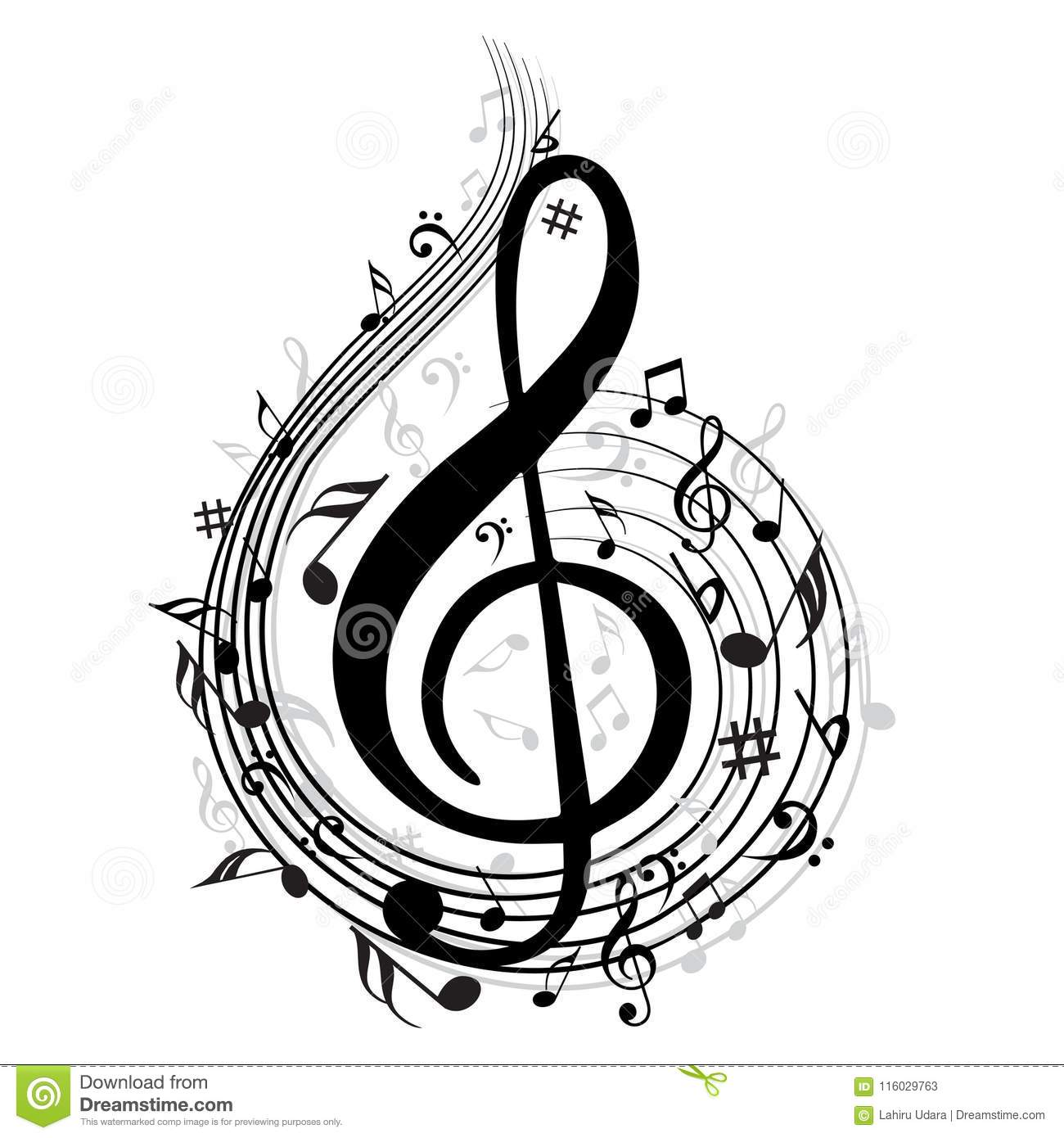 Music Note Background With Symbols Stock Vector - Illustration of