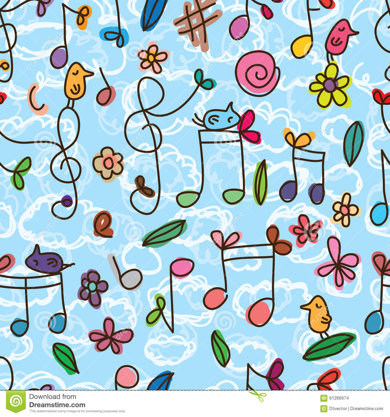 Music Note Cute Bird Seamless Pattern Stock Vector Illustration Of