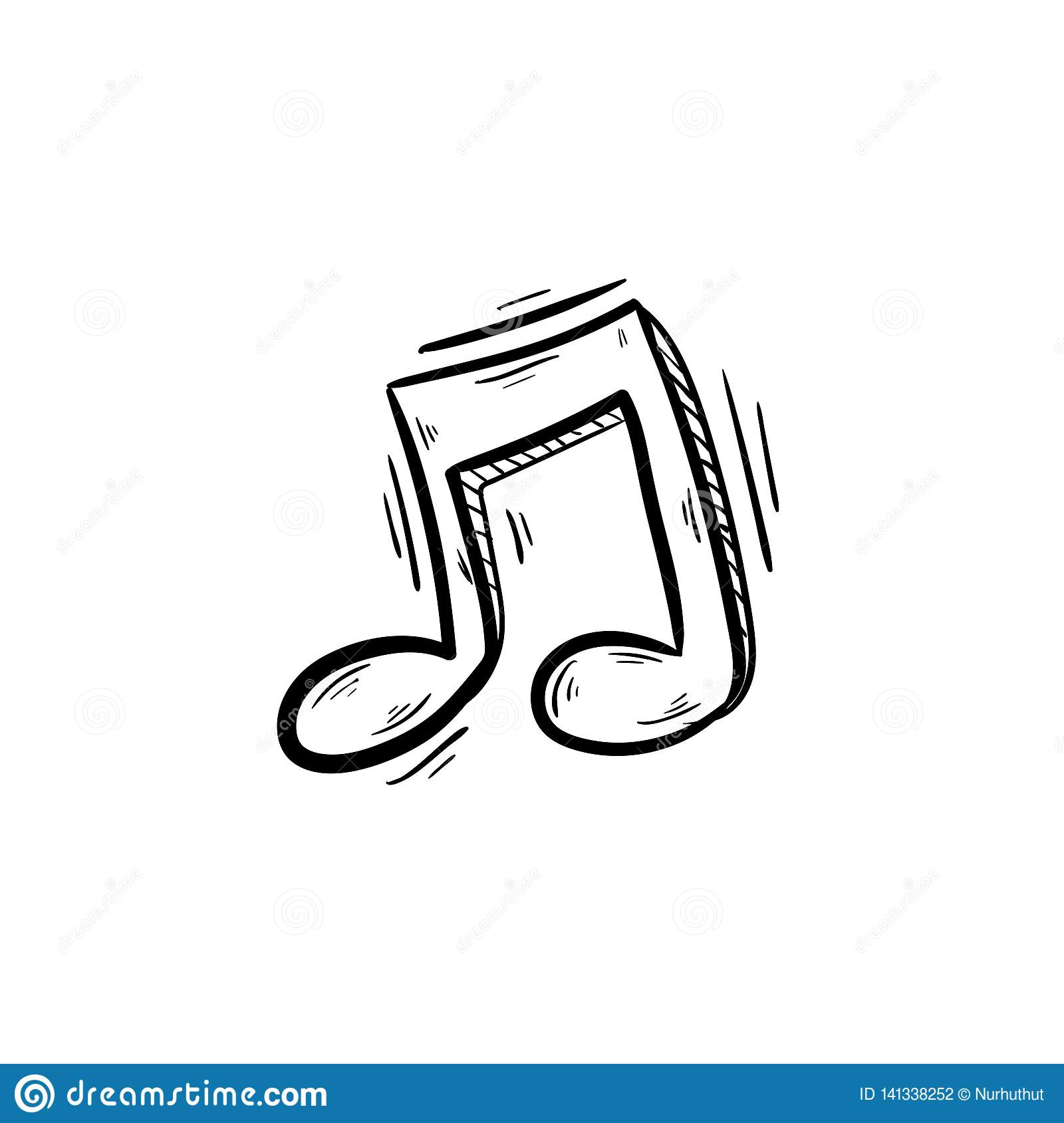 Music Note Doodle Hand Drawing Stock Vector Illustration Of Symbol Vector 141338252