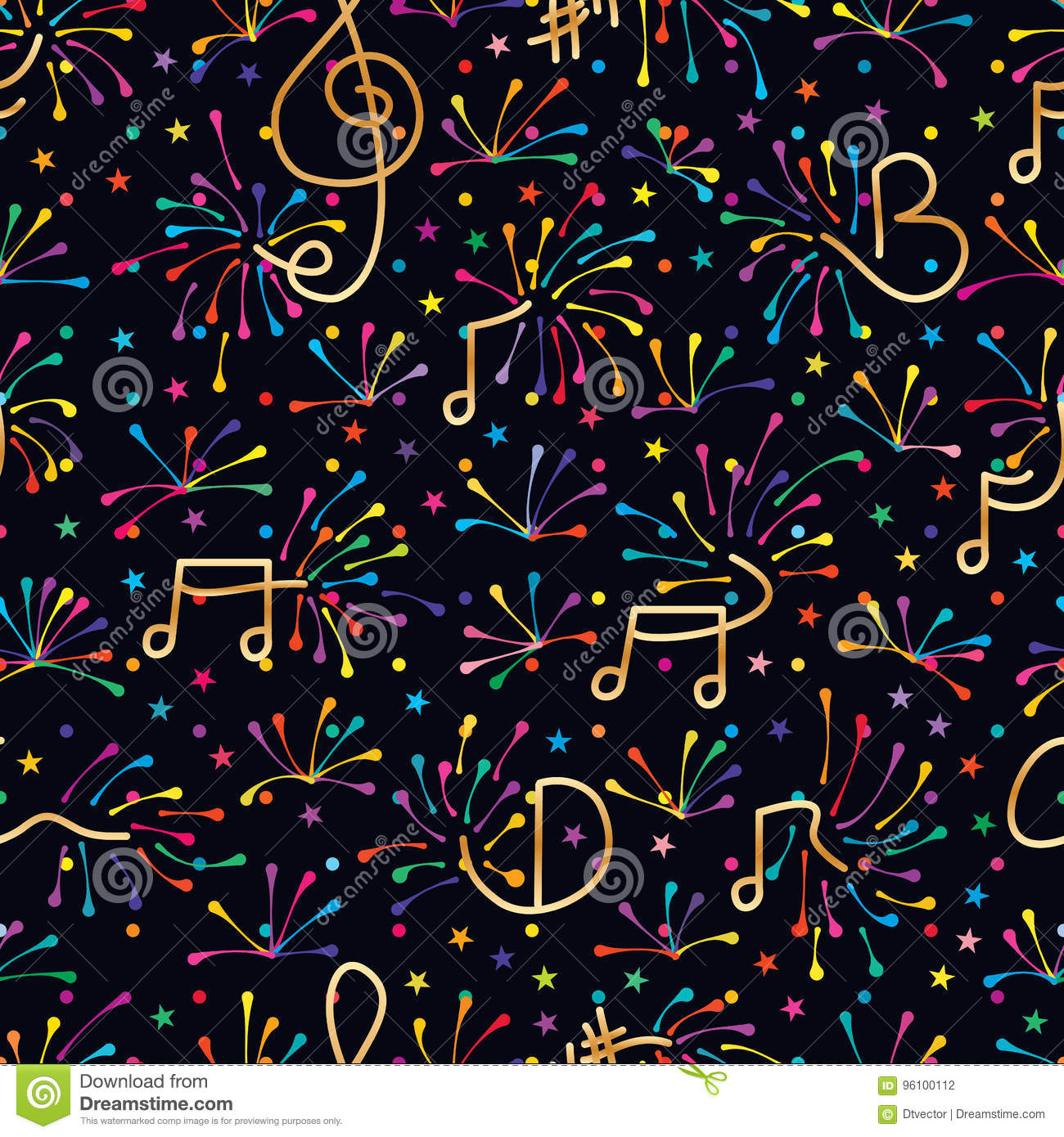 Music note firework colorful seamless pattern