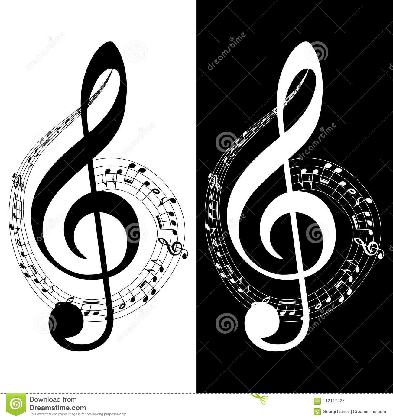 Music Note Icon Black And White Variations Music Notes Swirl Stock