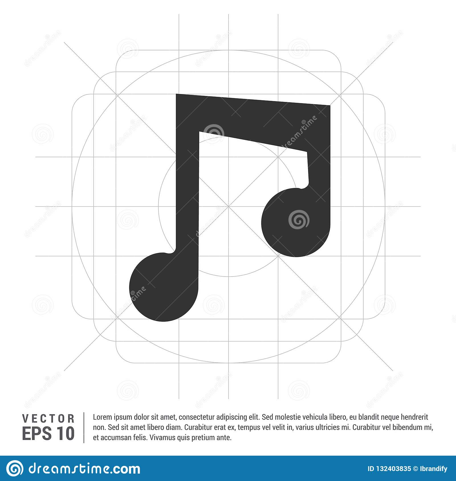 Music note icon stock vector  Illustration of player - 132403835