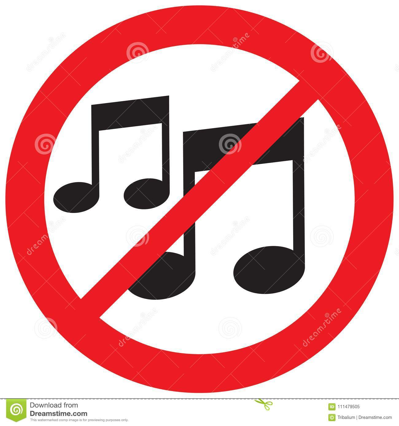 Music Note Not Allowed Sign Stock Vector Illustration Of