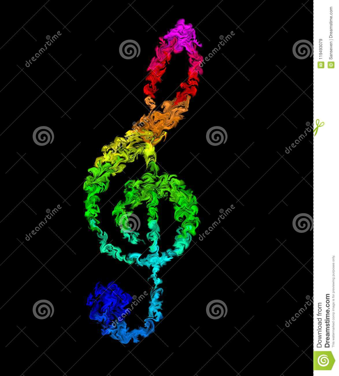Music Note Pulsing Smeared Rainbow Colors Fire Design Stock