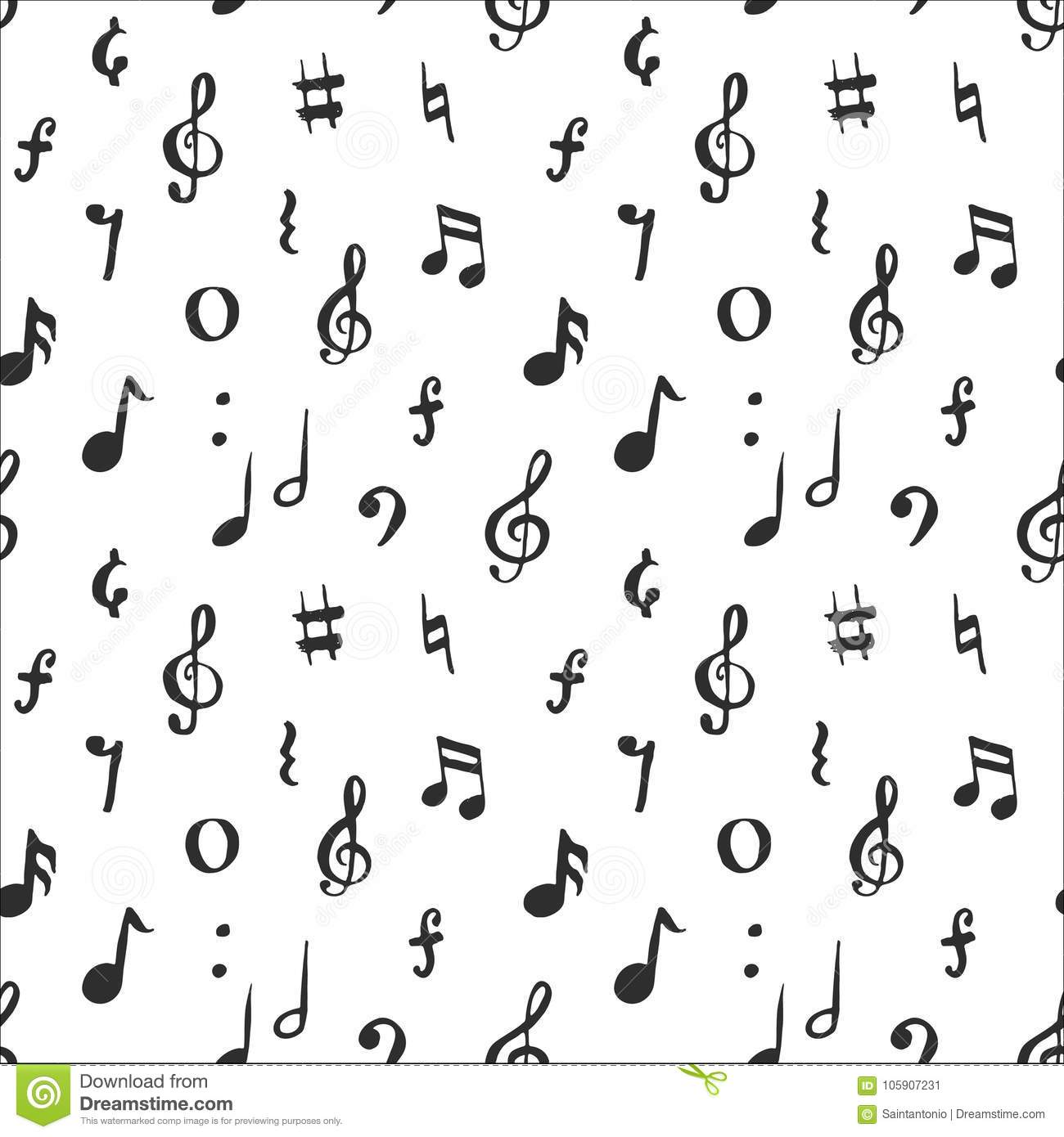 graphic regarding Printable Music Notes Symbols known as Audio Observe Seamless Behavior Vector Example. Hand Drawn