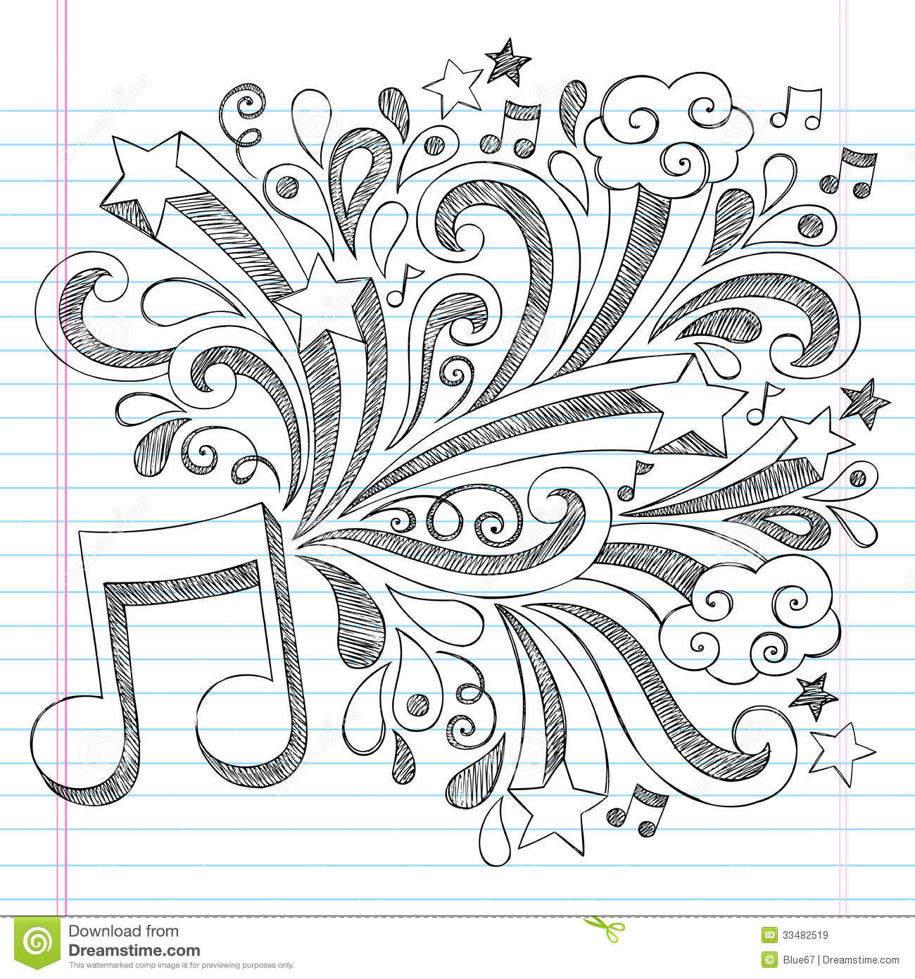 Music Note Sketchy Notebook Doodle Vector Illustra Royalty