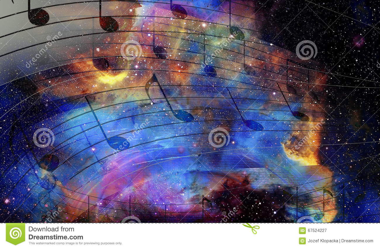 Music Note And Space And Stars With Abstrtact Color
