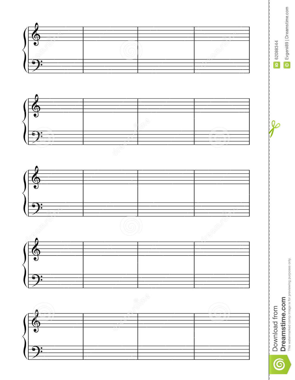 music note stave with treble and bass clefs a4 stock