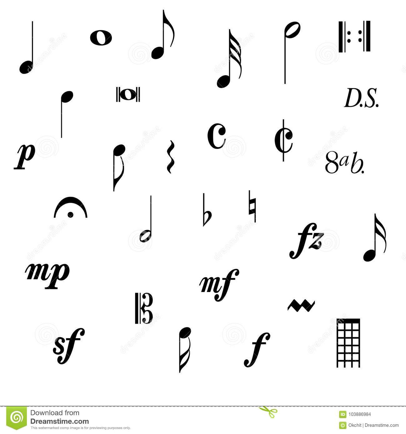 Music Note Symbols Stock Vector Illustration Of Stave 103886984