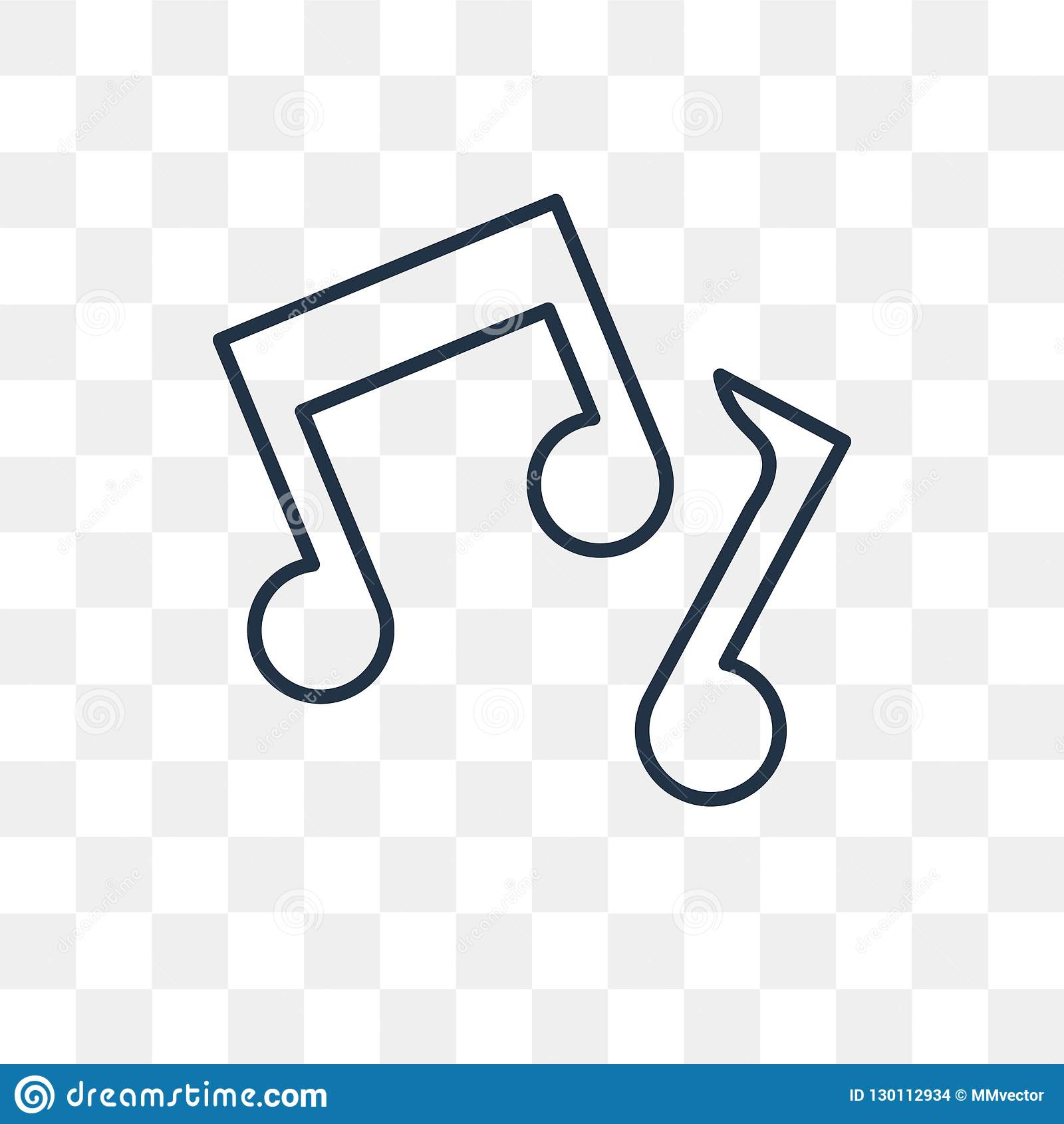 Music Note Vector Icon Isolated On Transparent Background Linea