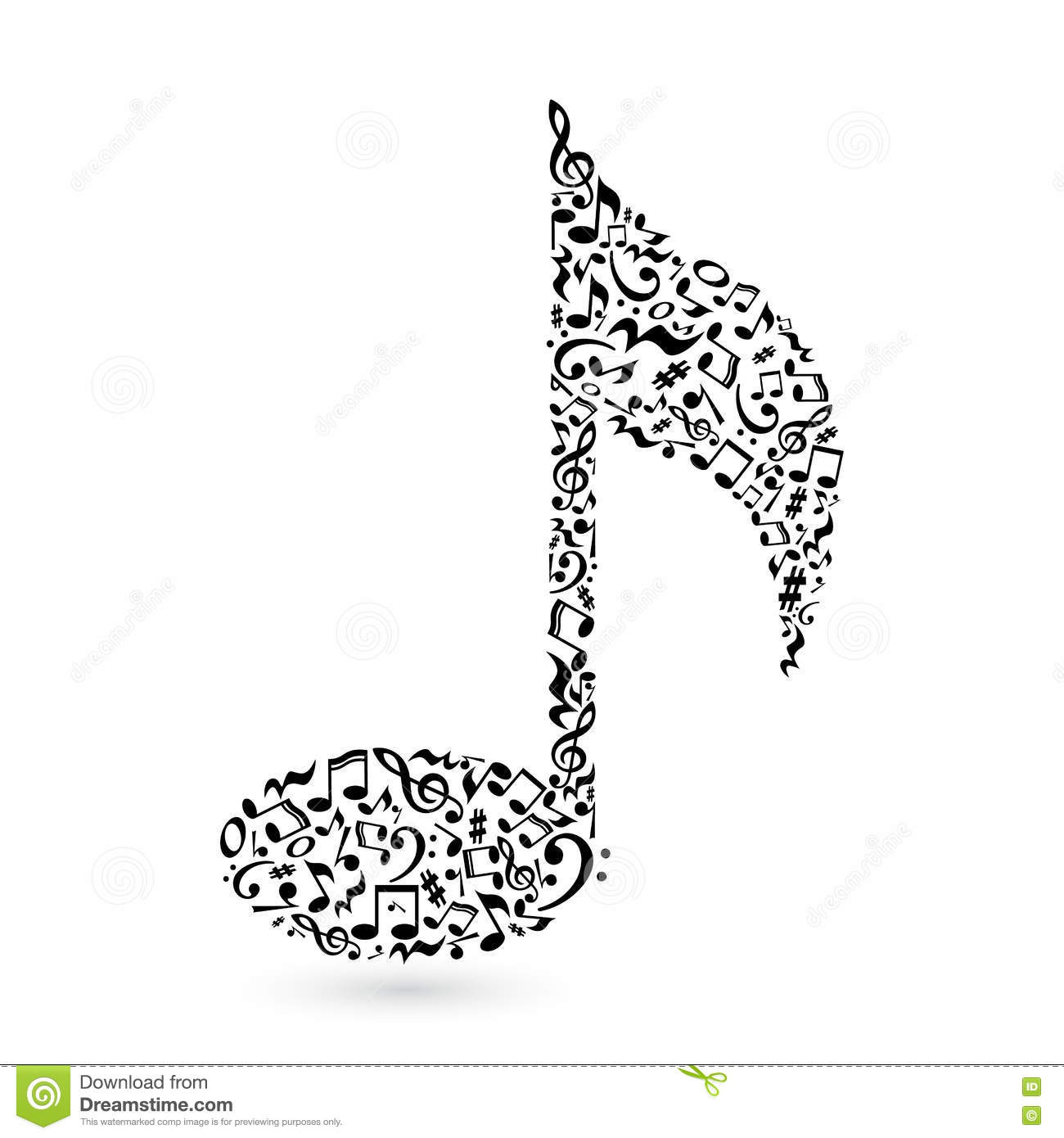 Music Note On White Stock Vector Illustration Of Isolated