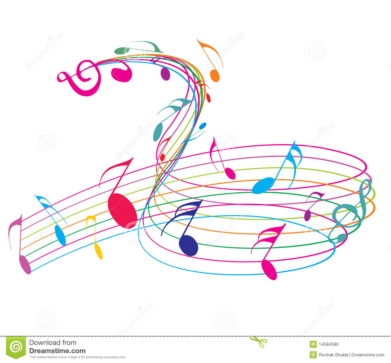 Musical notes staff background on white vector by tassel78 image - Music Notes Stock Photo