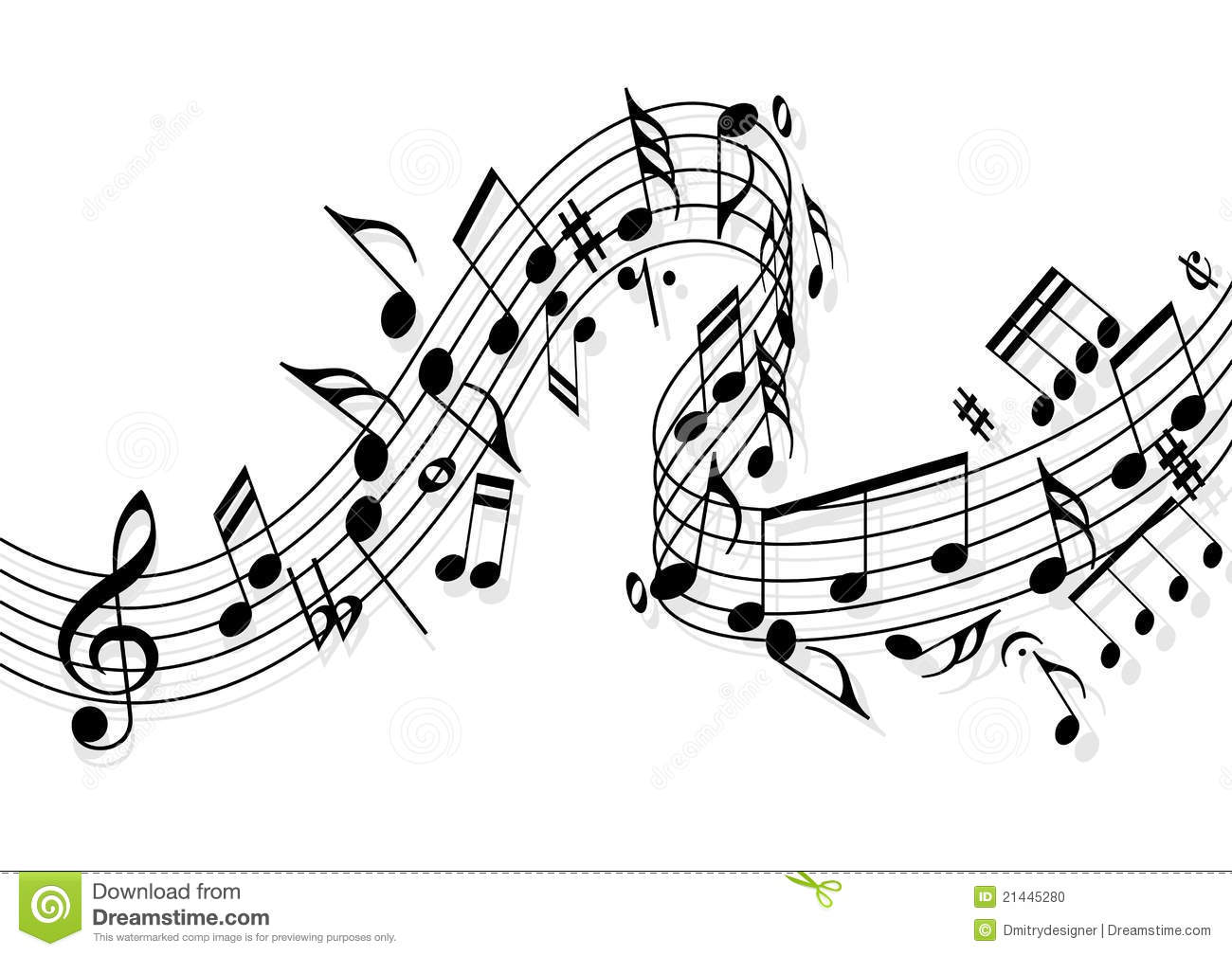 Music notes stock vector illustration of harmony for Note musicali dwg