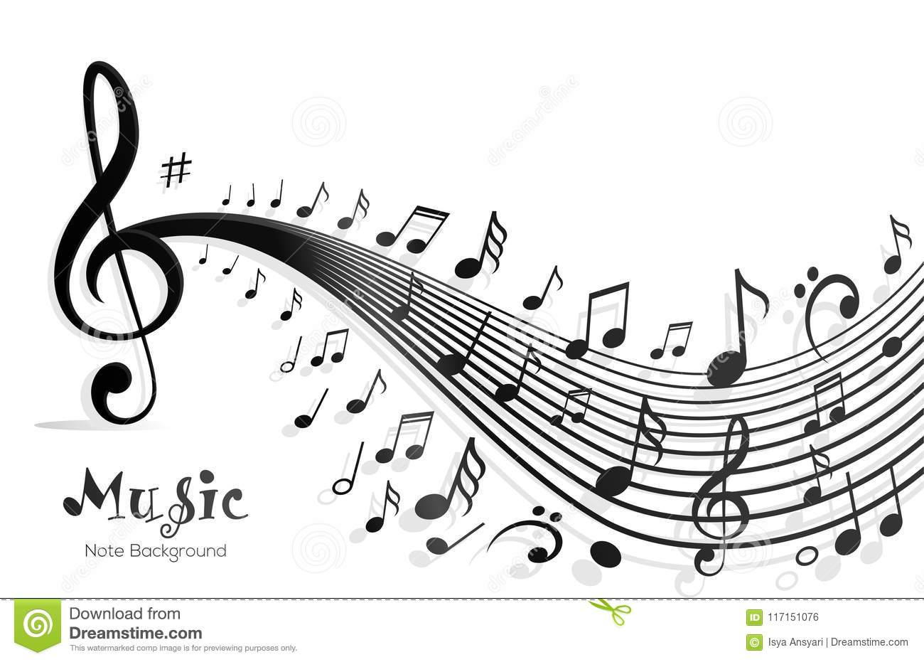 Music Notes Abstract Design Stock Vector - Illustration of