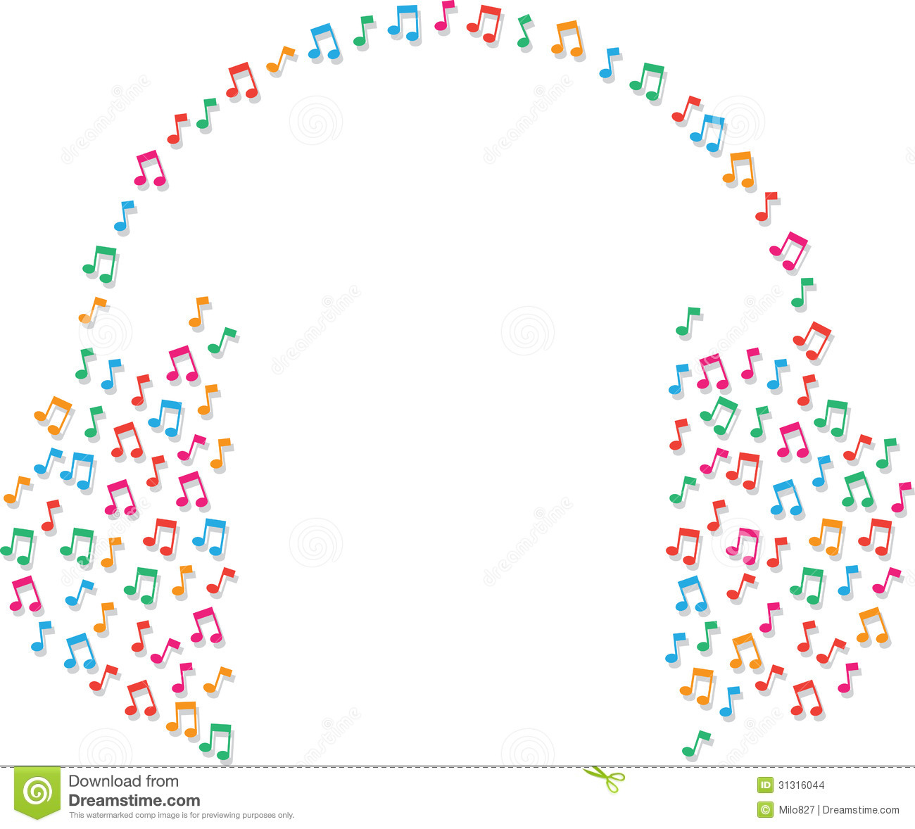 Music notes as headphones