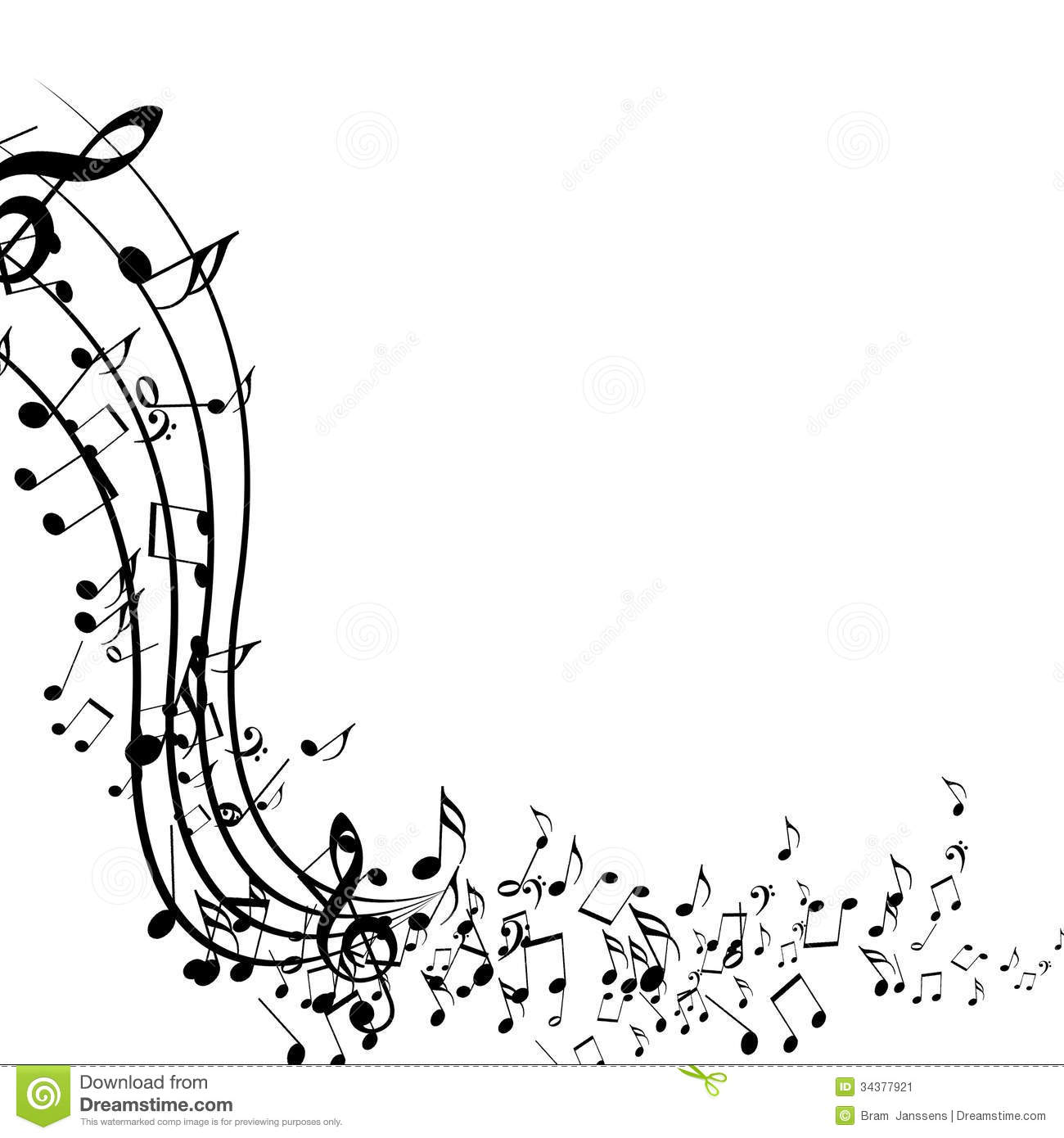 Black And White Music Notes Background Black music notes isolated on