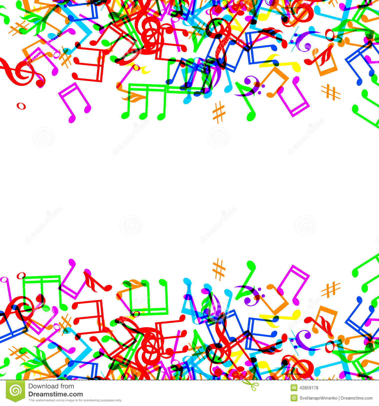 Music Notes Border Stock Vector Illustration Of Style 42859178