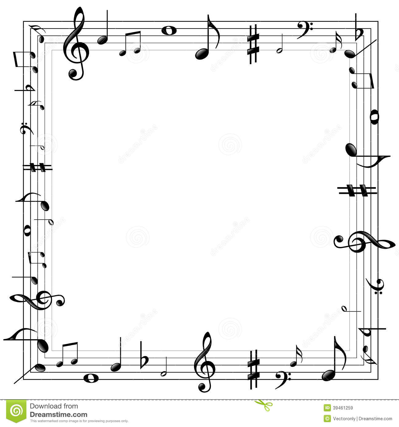 Music Notes Border Stock Vector Illustration Of Beautiful 39461259