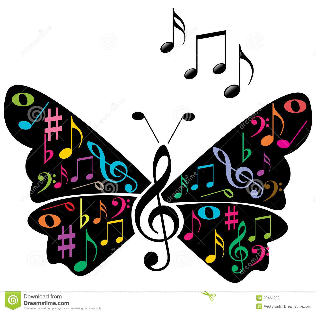 music notes butterfly stock vector illustration of chords 39461202