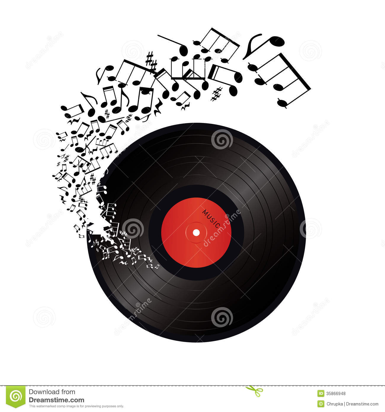 Music Notes Coming Out Of The Hole In The Vinyl Royalty