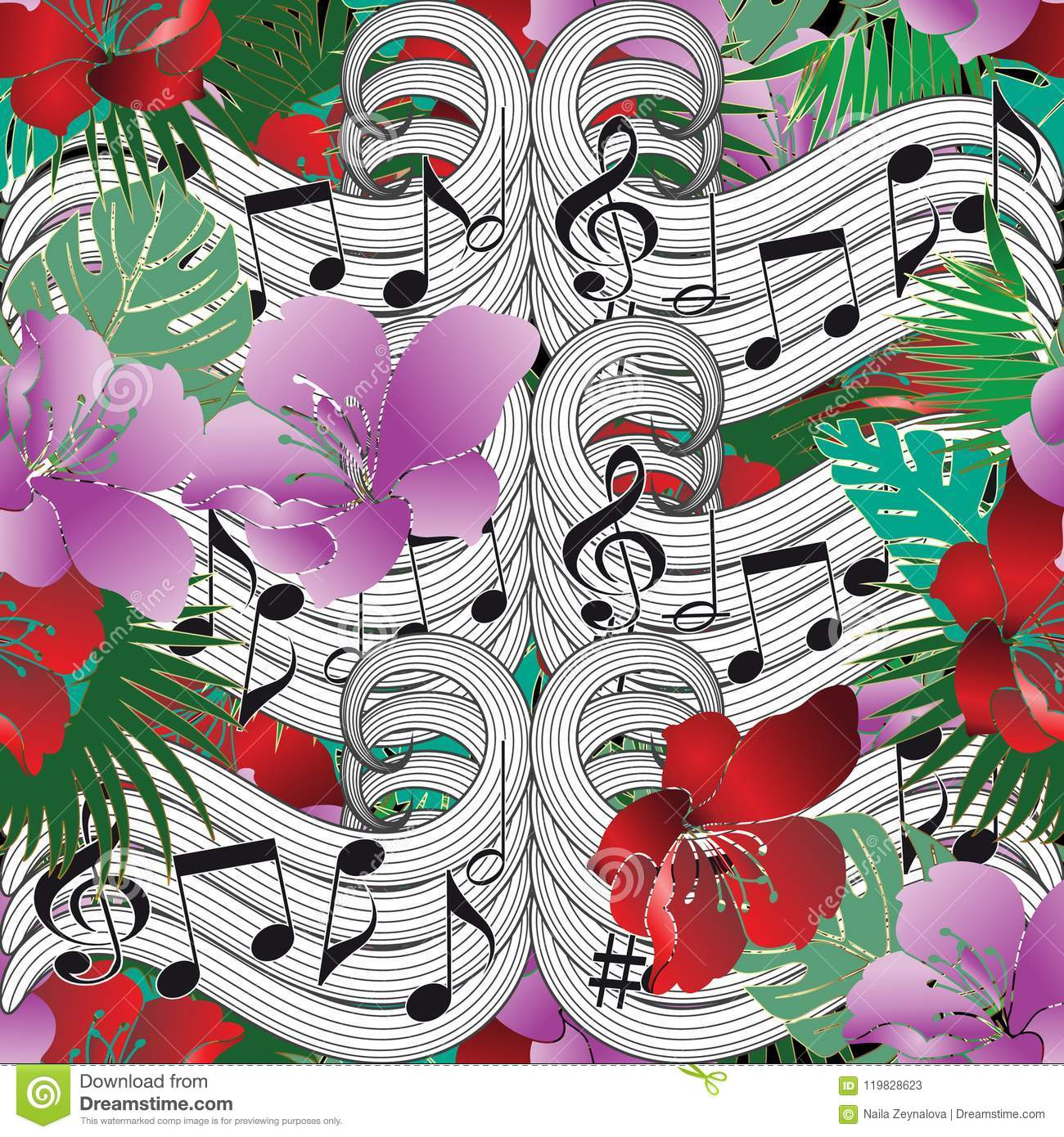 Music Notes Floral Vector Seamless Pattern Stock Vector