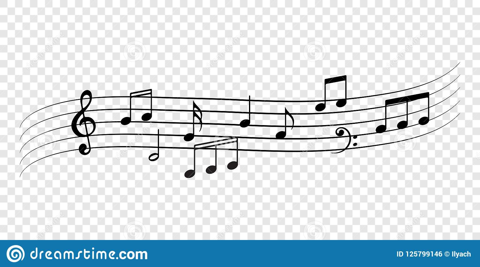 Music Notes Staff Decorative Flow Background Stock Vector