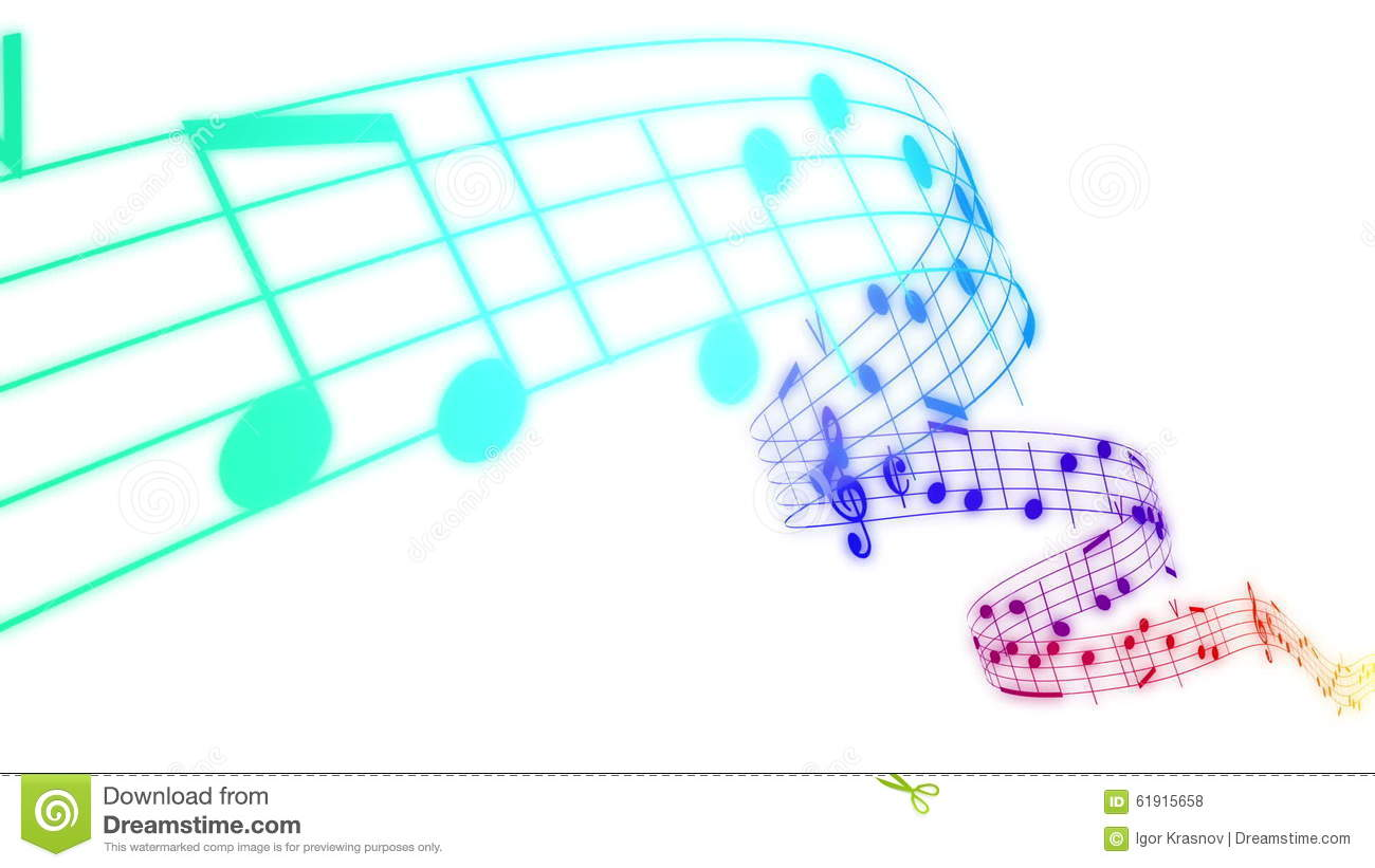 Music notes flowing in rainbow colors on white background. Seamless  animation. stock video footage