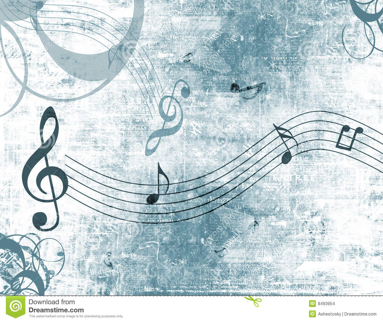 Music Notes Grunge Background Stock Illustration