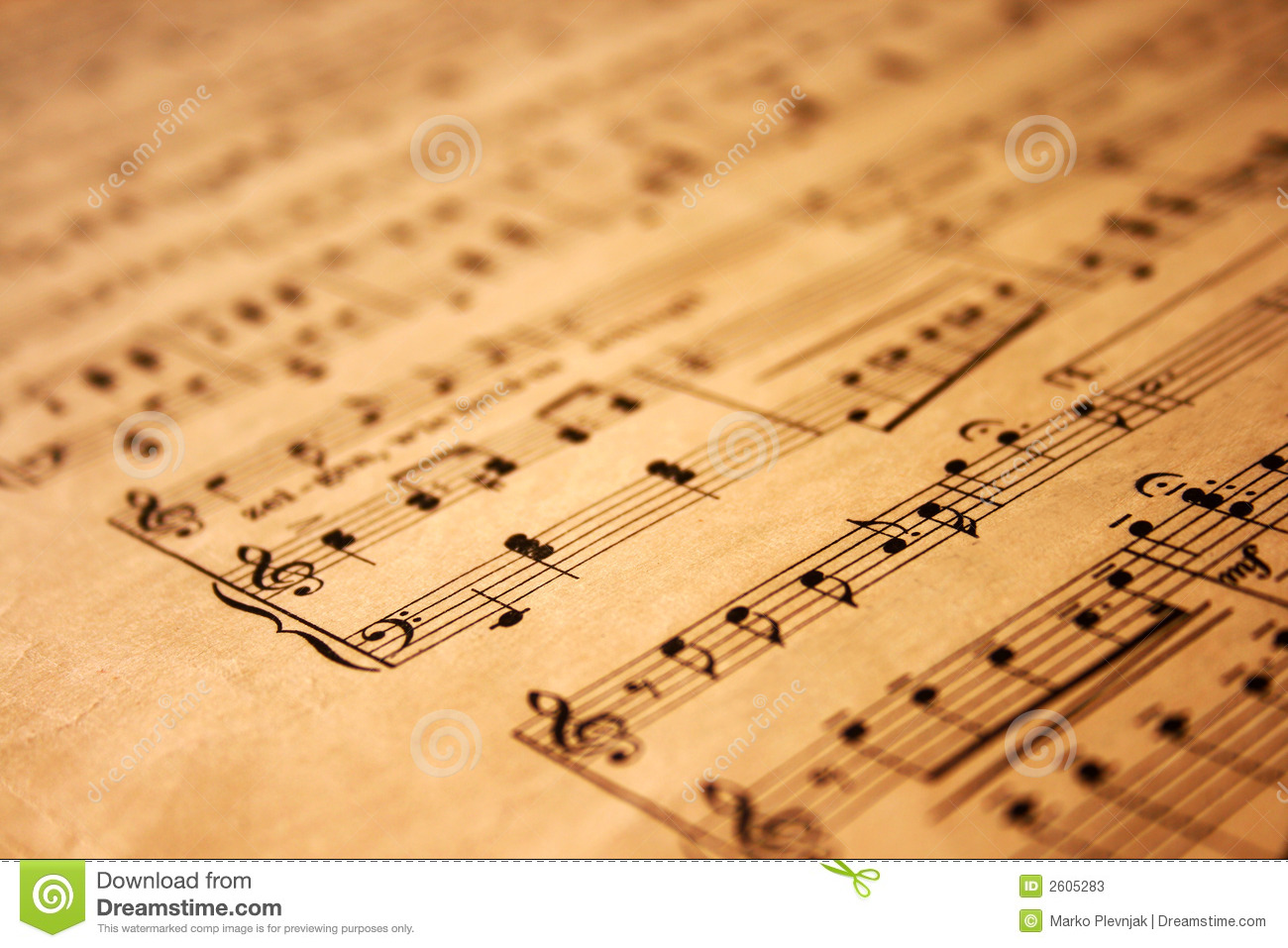 Music Notes On Grunge Paper Stock Photos - Image: 2605283