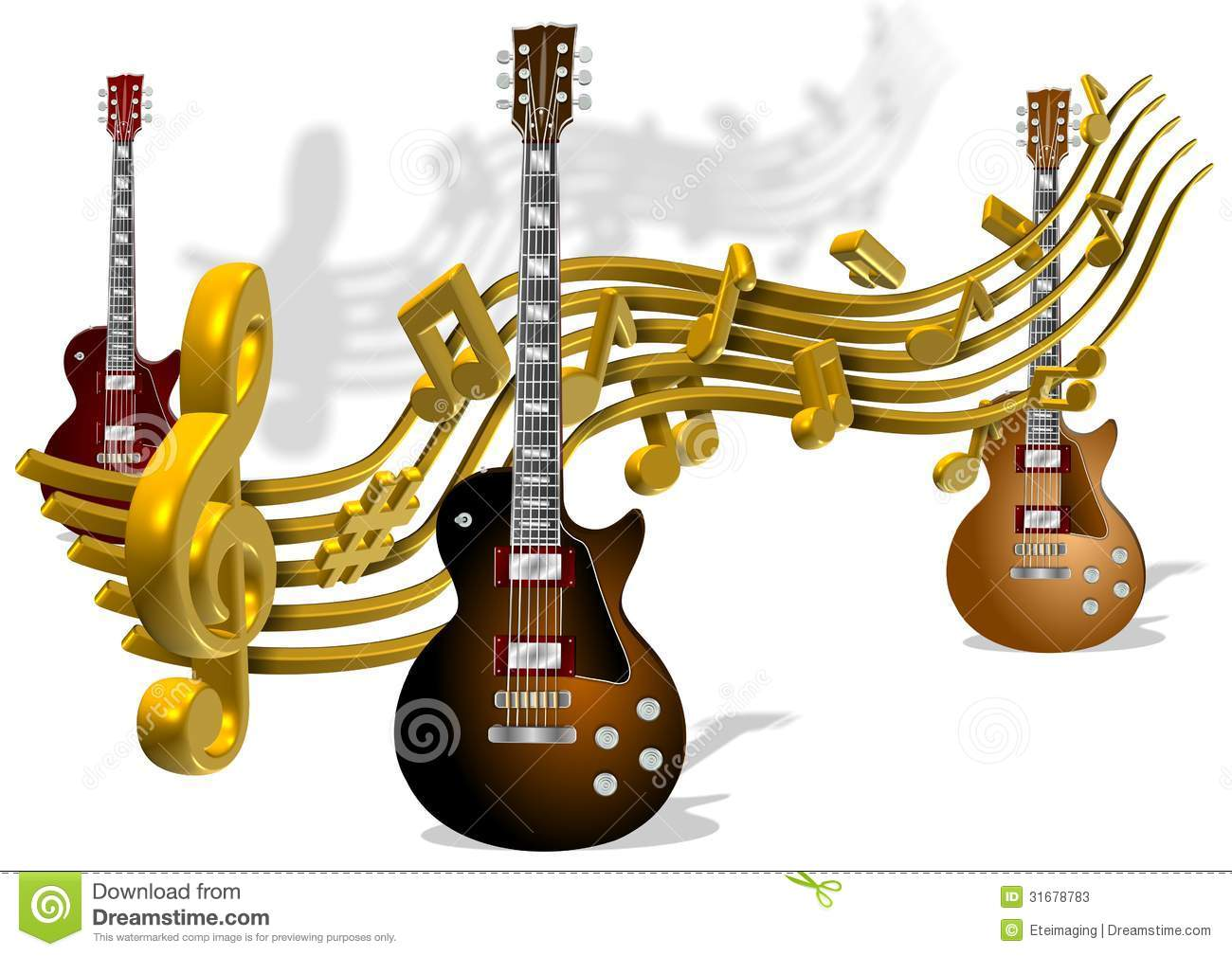 notes music guitars electric golden around note going preview dreamstime