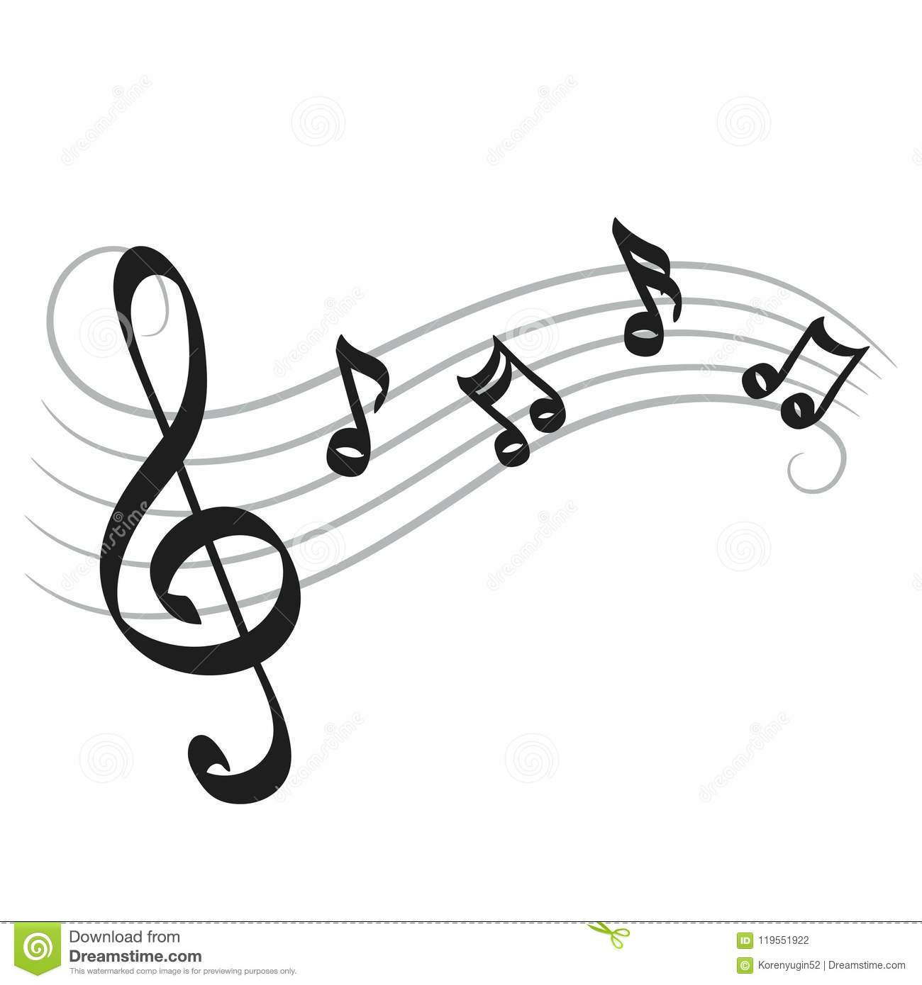 Music Notes Hand Drawing On White For Your Design Stock Vector