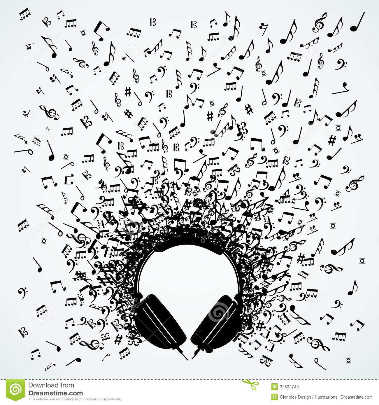 Music Notes From Headphones Isolated Design Stock Photos