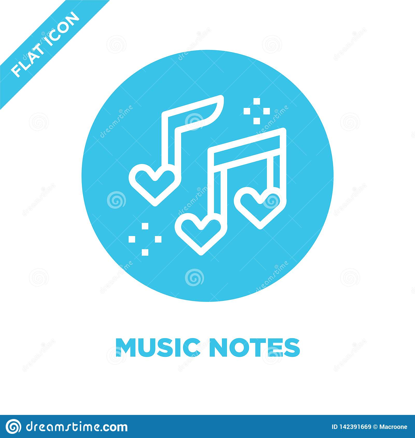 music notes icon vector from love collection. Thin line music notes outline icon vector  illustration. Linear symbol for use on
