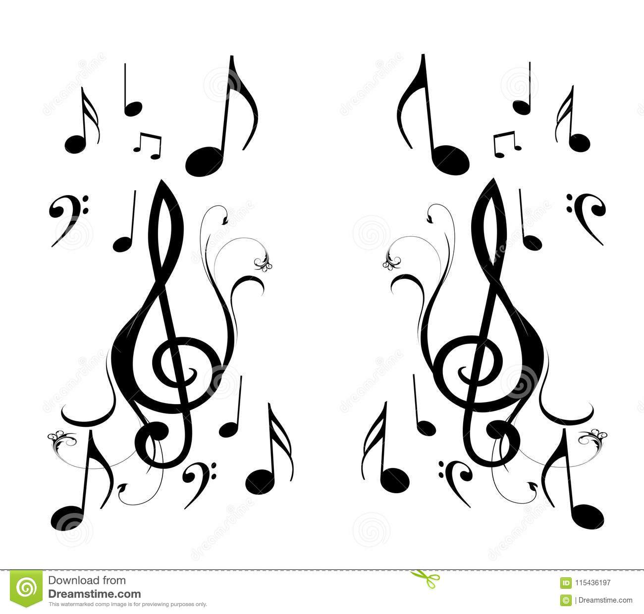 Music Notes And Mirror Image Stock Illustration