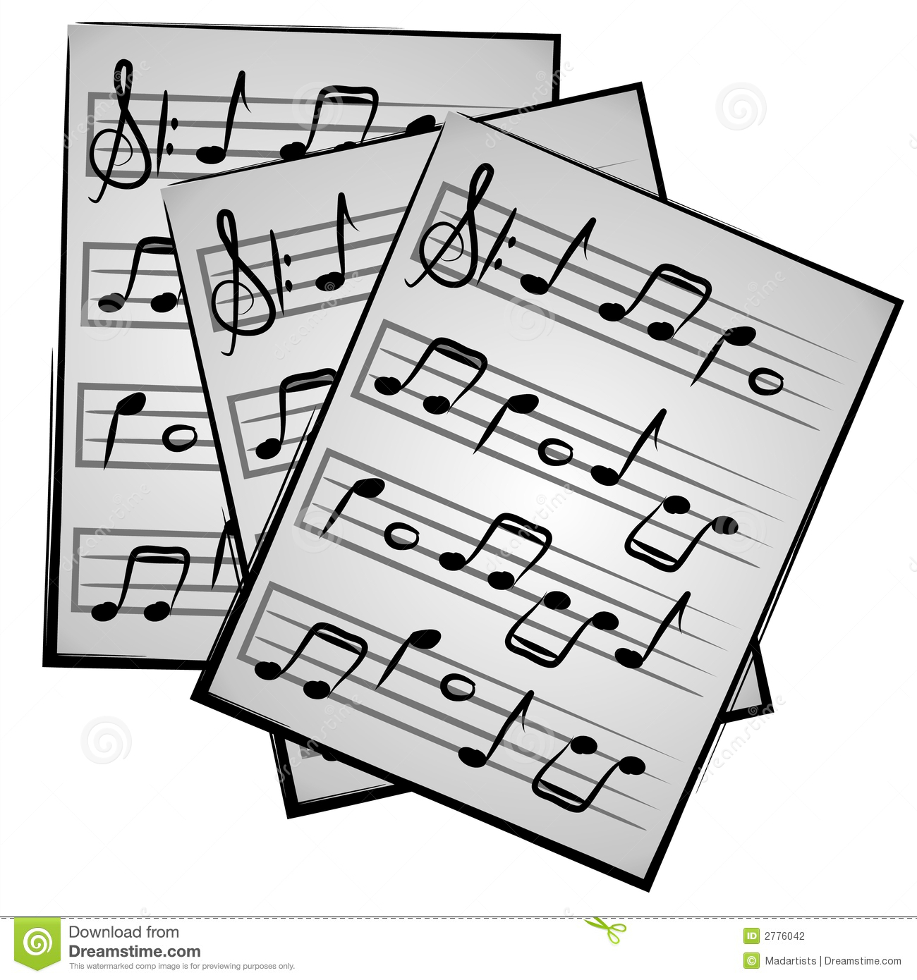 An illustration of paper music sheets on a white isolated background.